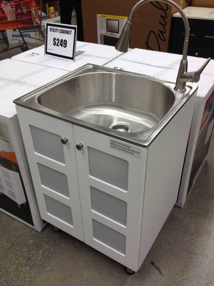 Laundry Sink Cabinet Stainless Steel : love this Stainless steel laundry sink & cabinet $249 Home Depot More