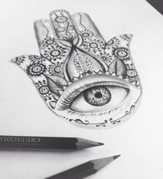 how to draw a hamsa step by step