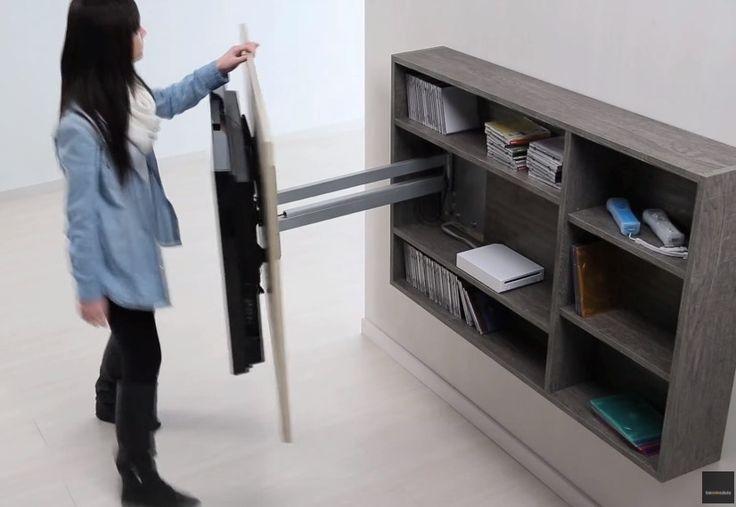 Mueble panel tv lcd led soporte girat rack oculto for Mueble con soporte para tv