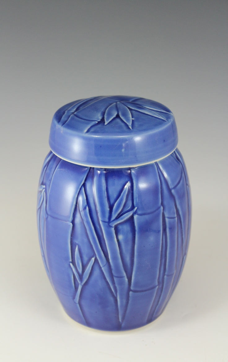 Porcelain Ginger Jar with carved bamboo bas relief  Anne Webb #basrelief #bamboo #carved #wheelthrown #jar