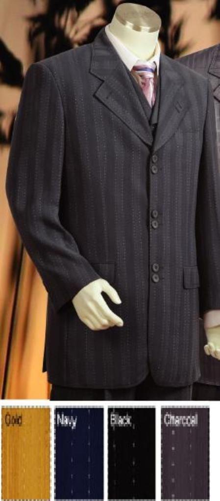 Tres piezas traje gris a rayas en colores 199 dólares .Available son oro, Negro, la Armada y del carbón de leña
