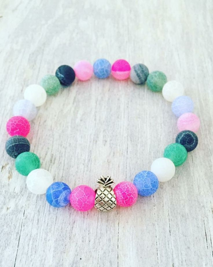 """Pineapple bracelet 8mm Frosted Dragon Veins Agate  7"""""""