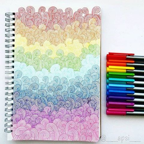 Think Colourfully!   Apsi drew this beautiful pattern with our triplus fineliners! #mySTAEDTLER #STAEDTLER #triplus #fineliner #colours