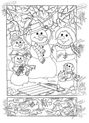 Snowman Hidden Picture Puzzle For Christmas Briar S Board
