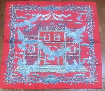 Hermes Carre 90 Scarf Stole Silk 100% Pigeon Bird envol Red Auth New Rare w box