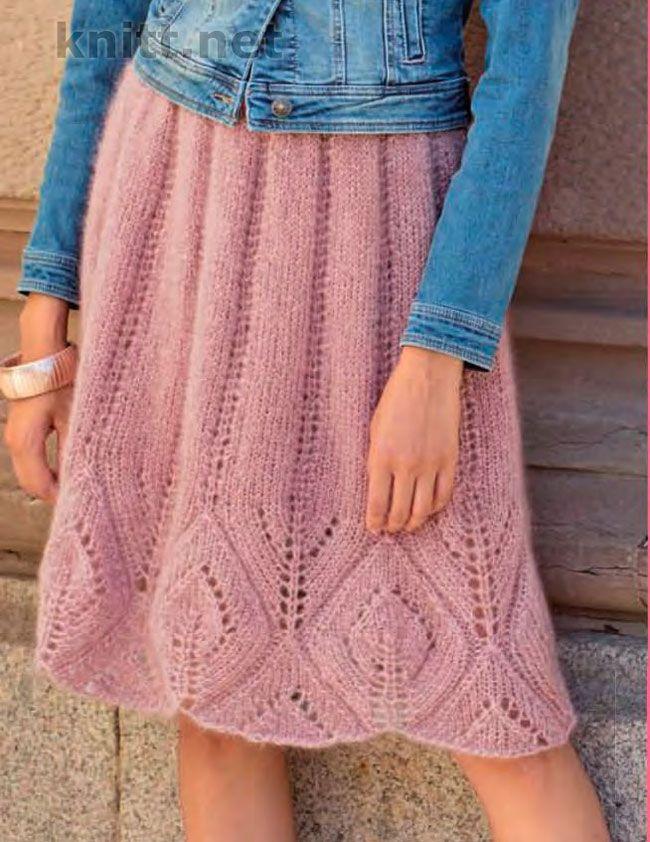 Вязаная юбка с ажурным бордюром. С кроссовками и джинсовой курткой слегка расклешенная юбка из отборного мохера обретет повседневный характер.