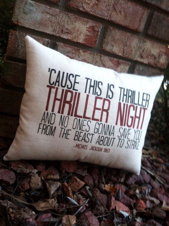 Thriller-Michael Jackson, Customizable lyric pillow, Halloween By Three Yellow Finches