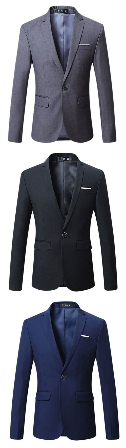 Spring Autumn Casual Business Suits Slim Fit Fashion Solid Color Blazers for Men