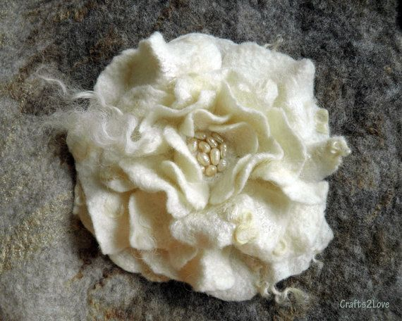 White rose. Wool felted flower brooch. Milk white by Crafts2Love, $35.00