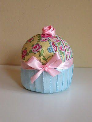 DIY Fabric Cupcake Craft.  With styrofoam.  Easy instructions.