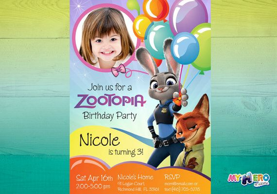 Zootopia Birthday Invitation Customize it with by MyHeroAtHome