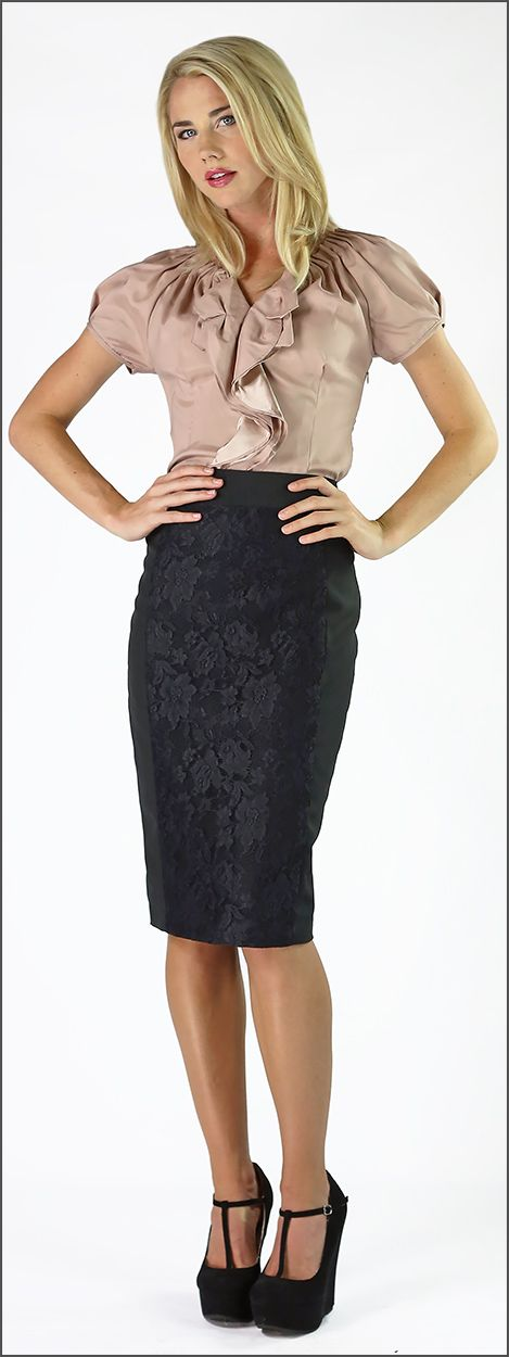 Lace panel skirt and ruffles