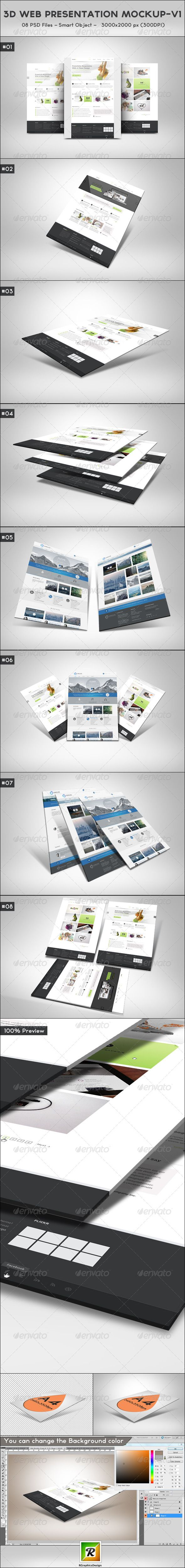 3D Web Presentation Mockup (V1) | R-GRAPHICS DESIGN  Project features:     08 PSD Files     Pixel Dimension: 3000×2000     Smart Object To Edit     High Resolution: 300 DPI     Layered PSD File
