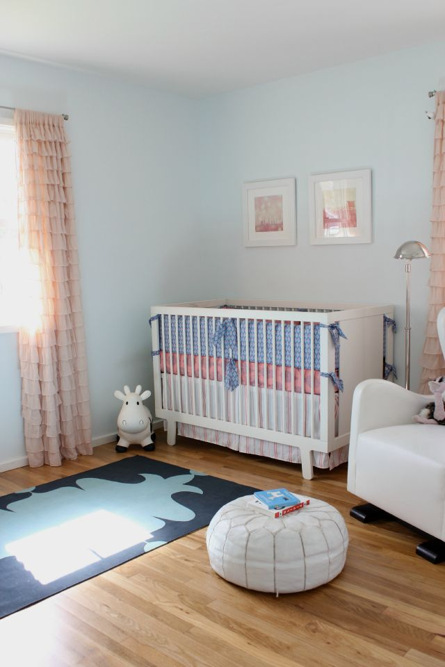 Pink and Blue Eclectic-Modern Girl's Nursery: Modern Girls Nurseries, Blue Girls Nurseries, 3Rd Baby, Eclectic Modern Girls, Projects Nurseries, Ideas Girls, Nurseries Ideas, Blue Eclectic Modern, Girls S Nurseries