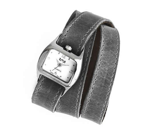Grey triple wrap leather watch ladies' grey watch