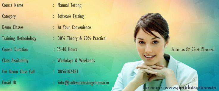 https://flic.kr/p/wGWN2J | Manual Testing Training | Manual Testing Training in Chennai provided by Manual Testing Experts. We are the Best Manual Testing Training Institute Center in Chennai. Join in us & Get Placed in MNC.  See more www.softwaretestingchennai.in/courses/manual-testing-trai...