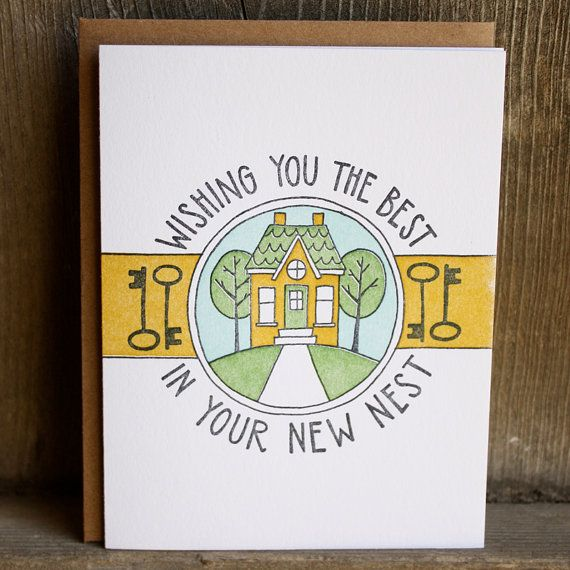 Wishing You The Best In Your New Nest Letterpress Card by 1canoe2, $5.00