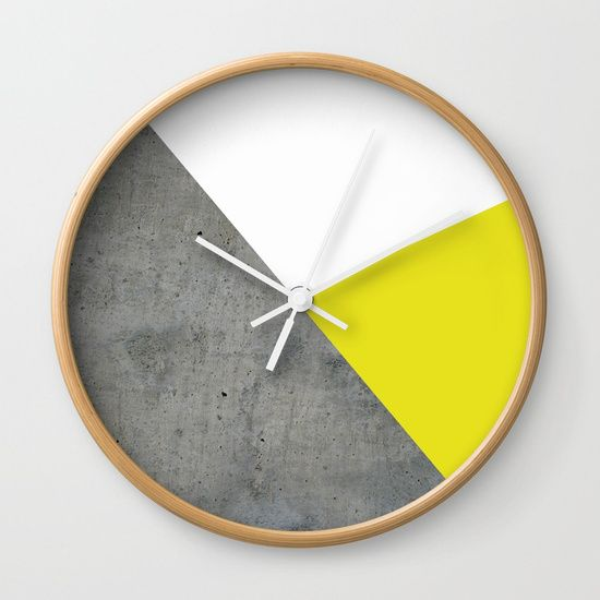 "Concrete vs Corn Yellow Wall Clock by ARTbyJWP via Society6 #wallclock #clocks #homeoffice #walldeco #homedecor - Available in natural wood, black or white frames, our 10"" diameter unique Wall Clocks feature a high-impact plexiglass crystal face and a backside hook for easy hanging. Choose black or white hands to match your wall clock frame and art design choice. Clock sits 1.75"" deep and requires 1 AA battery (not included)."