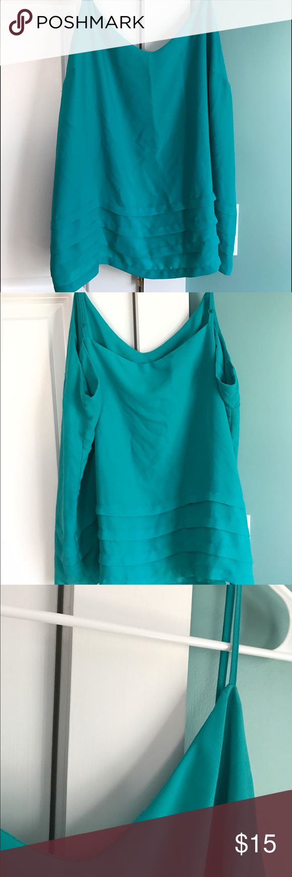 🆕 ATTENTION: dress tank XL: blue/green dress tank. 100% polyester. Slight fraying to straps near fastener and collar line, but much life left. Super cute for a night out. Please use the offer button to negotiate pricing.  No trades, PayPal or off-site transactions. 🚫 Attention Tops Tank Tops