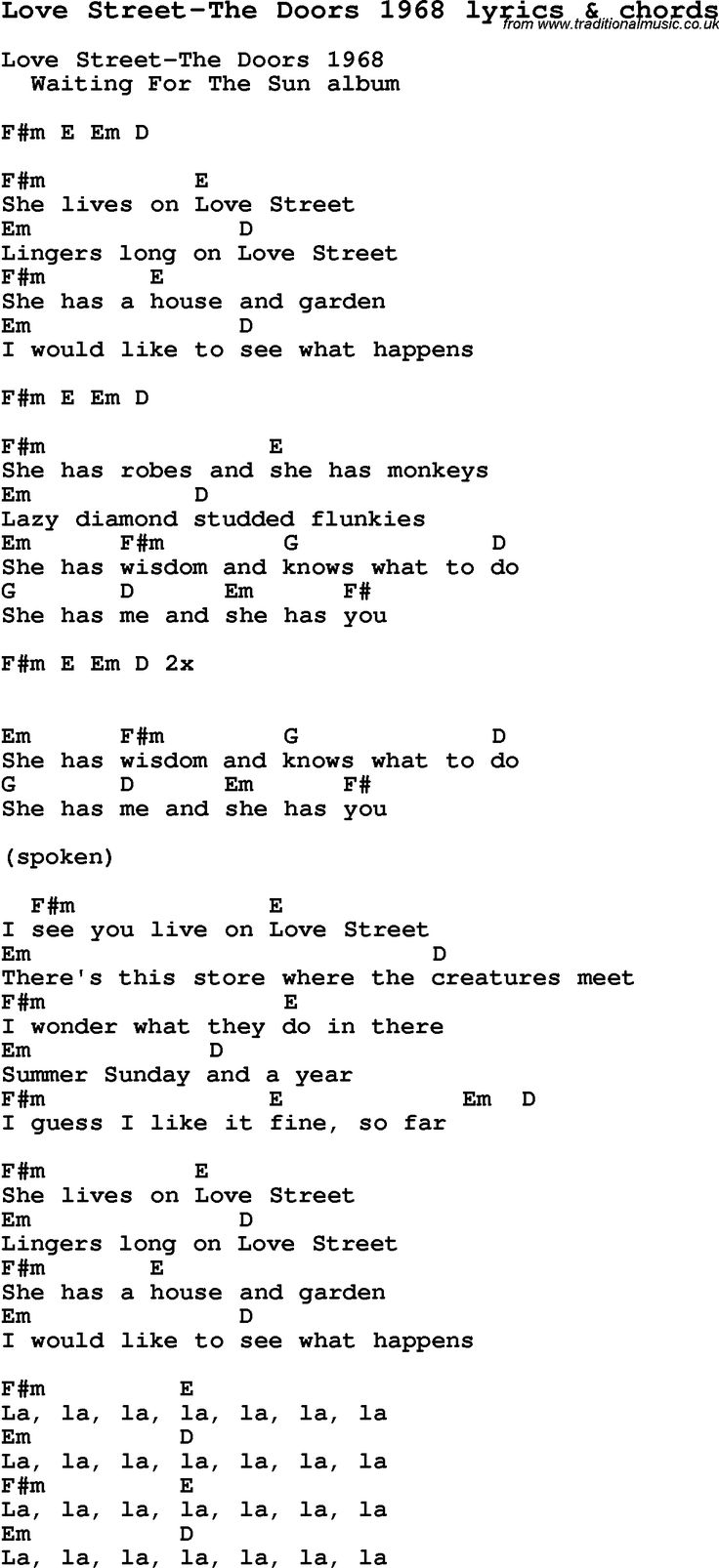 867 best rock images on pinterest artists live and liverpool love song love street the doors 1968 with chords and lyrics for ukulele guitar banjo and other instruments hexwebz Images