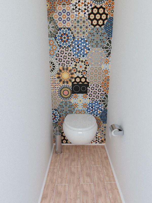 Un carrelage mural d'exception qui donne du cachet à cet espace de toilette ! Une belle source d'inspiration pour parfaire la déco dans vos WC !
