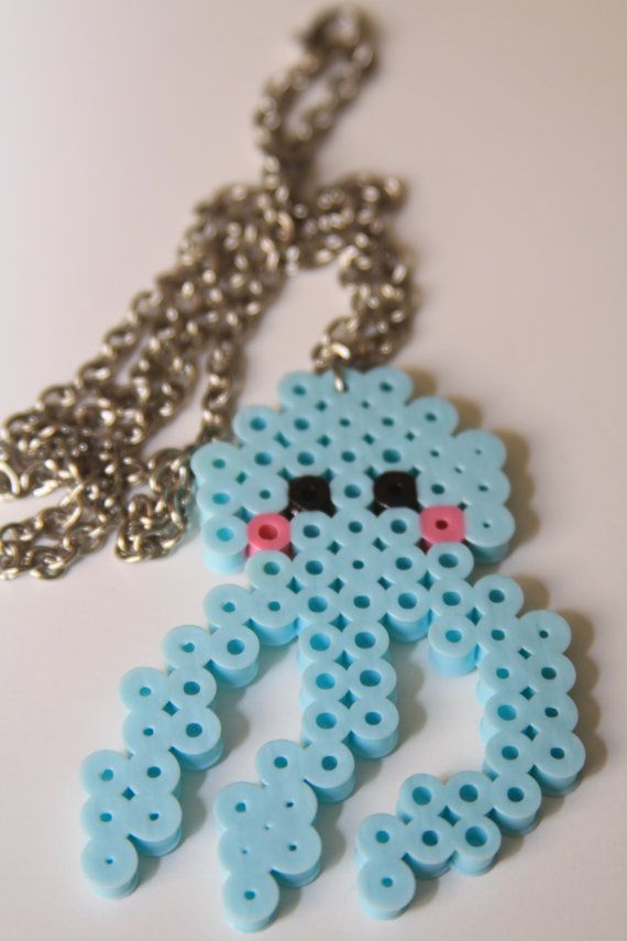 Perler Fuse Bead Octopus Necklace Kawaii