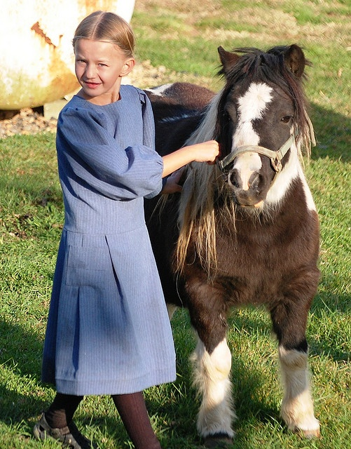Amish girl with horse.