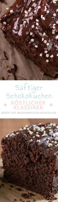 Dieser klassische Schokoladenkuchen passt immer - auf Kindergeburtstagen, Partys und für Buffets. Das einfache Schokokuchen-Rezept enthält gemahlene Mandeln und doppelt Schokolade - so wird der Kuchen richtig schön feucht und superschokoladig! | www.backenmachtgluecklich.de
