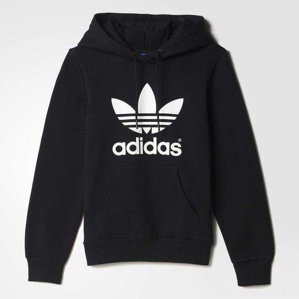adidas Trefoil Hoodie (£42) ❤ liked on Polyvore featuring tops, hoodies, sweaters, adidas, black, fleece hoodie, fleece pullover, black hoodies, sweatshirts hoodies and fleece hooded sweatshirt