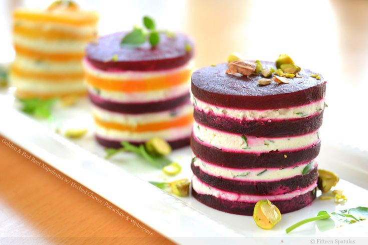 Golden and Red Beet Napoleons with Herbed Chevre, Pistachios and Watercress: Red Beets, Goatch, Fun Recipe, Pistachios, Cheese Napoleon, Chee Napoleon, Goats Cheese, Beets Napoleon, Goat Cheese