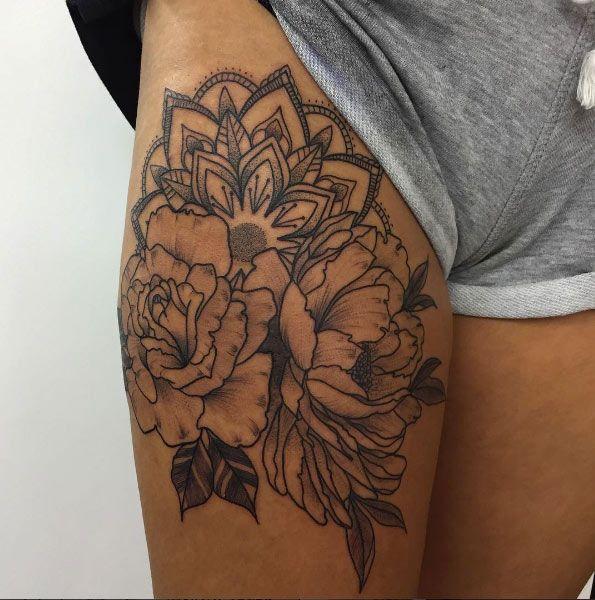 best 25 thigh piece ideas on pinterest mandala tattoo. Black Bedroom Furniture Sets. Home Design Ideas