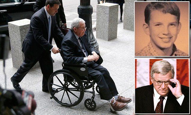 Disgraced former Speaker Dennis Hastert wheeled into court to be sentenced for bank fraud 'to keep his sex abuse victims quiet' | Daily Mail Online