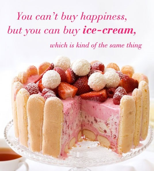You can't buy happiness but we'll settle for ice-cream! Wise words #food recipe: Vanilla raspberry ice-cream cake surrounded by sponge finger biscuits