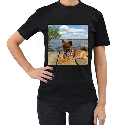 Pom+Pup+On+Dock+Women's+T-Shirt+(Black)