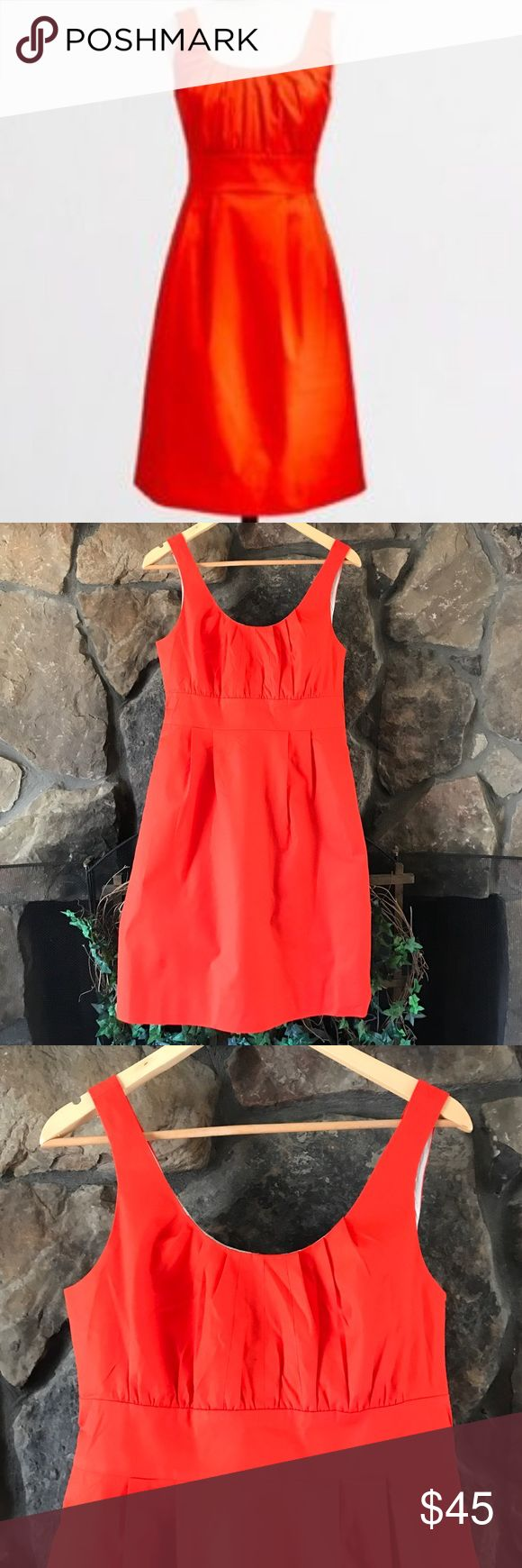 🎭 NWT J CREW ORANGE SUITING DRESS🎭 New with tag J crew suiting dress in reddish orange. Back zipping gathered bodice for shape definition with a band at the waist pleating. Fully lined. From J Crew Factory J. Crew Dresses Midi