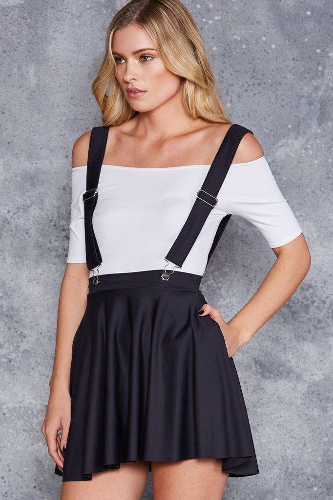 Matte Pinafore Pocket Skater Skirt
