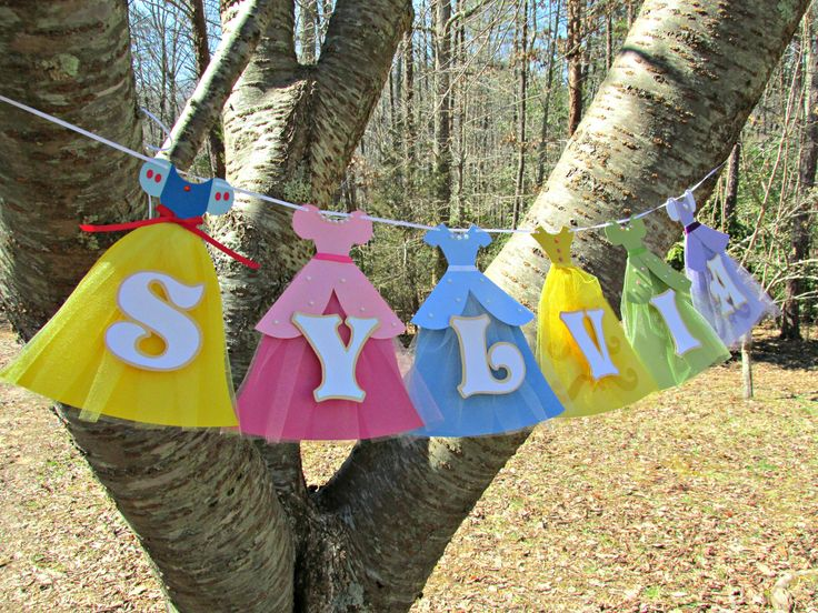 Disney {inspired} Princess Tea Party Birthday Banner. Handmade princess dresses for Snow White, Aurora, Cinderella, Belle, Tatiana, Sophia. Snow White, Sleeping Beauty, Cinderella, Beauty and the Beast, The Princess and the Frog, Sophia the First birthday party idea! Please 'like' my facebook page http://www.facebook.com/missymadeit.com for more birthday party themes and decorations!