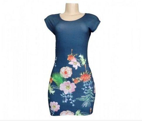 vestido curto de malha fria floral manga curta frete grátis