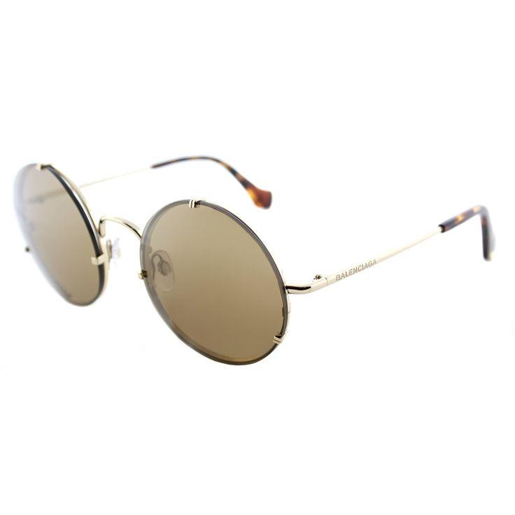 Balenciaga BA 0086 33G Round Sunglasses with Brown Mirror Lenses, Adult Unisex