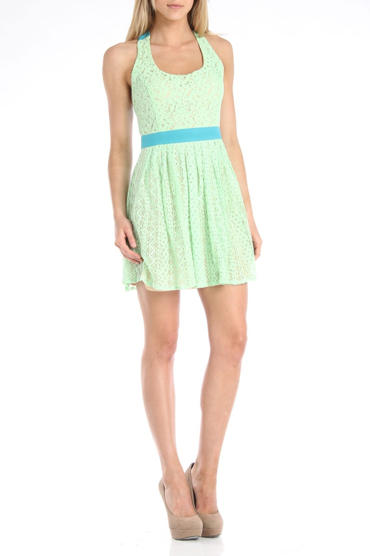 Flying Tomato Jaymee Lace Mix Dress in Turquoise - Beyond the Rack