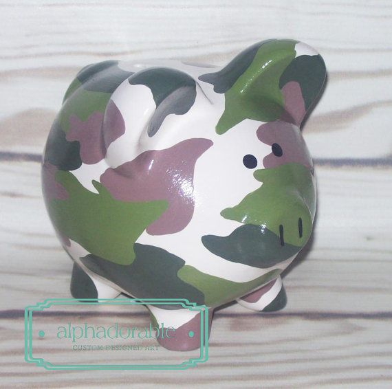 SMALL Camo print, artisan hand painted ceramic personalized custom army print  piggy bank 5""