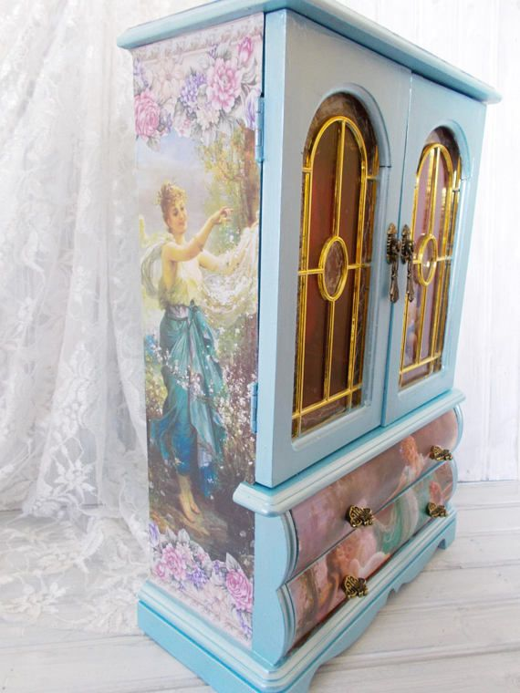 MBS Jewelry Box, Large Painted Metallic Blue Victorian ...