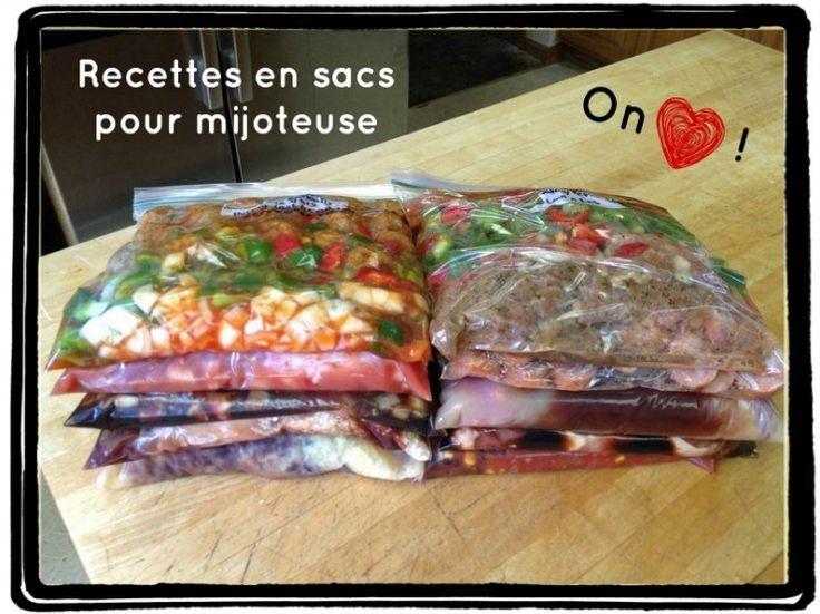 Recettes sacs mijoteuse: ex.  poulet teryaki, porc sauce dijon, boeuf italien.