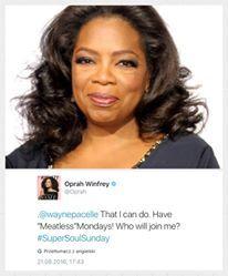 Co dobrego można zrobić z popularnością?  Można zarazić miliony fanów pewną poniedziałkową ideą jak Oprah Winfrey.  Bądź jak Oprah!   Nawet gdy nie masz milionów fanów.  +Oprah Winfrey News #meatlessmondays #bezmiesni #wegetarianie #weganie #govegan #pureveg
