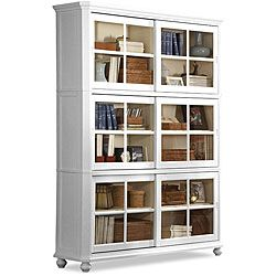 @Overstock.com.com - Aspen White Bookcase - Store all your favorite texts and other knick knacks in the Aspen bookcaseHome office furniture features a stylish sliding glass front door systemFurniture is made of solid Asian rubberwood with veneers  http://www.overstock.com/Home-Garden/Aspen-White-Bookcase/3445436/product.html?CID=214117 $999.99