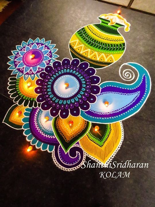 #pongal#kolam#rangoli#purple#green}yellow #blue#