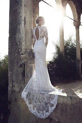 Mermaid Langarm Spitze Brautkleid mit Neckholder romantische Meerjungfrau Kleid