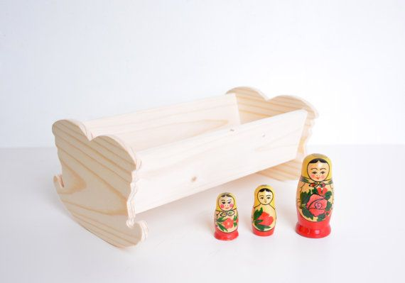 wooden doll cradle, unfinished DIY toy, waldorf toy, dollhouse, eco toy for girl or boy, birthday gift, toys