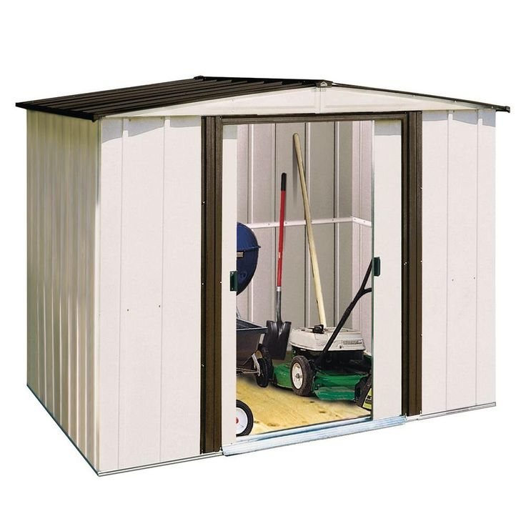 Arrow Newport 8 Ft X 6 Ft Steel Shed Np8667 At The Home Depot 218 Steel Sheds Steel Storage Sheds Metal Shed