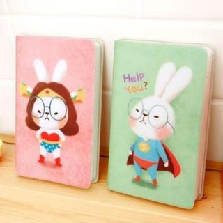 iswas  Set: Bunny Print Pocket Diary + Zipper Bag